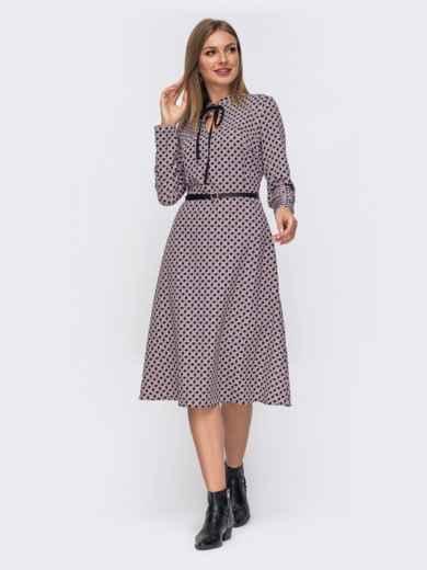 Расклешенное платье-миди с принтом чёрное 51075, фото 2
