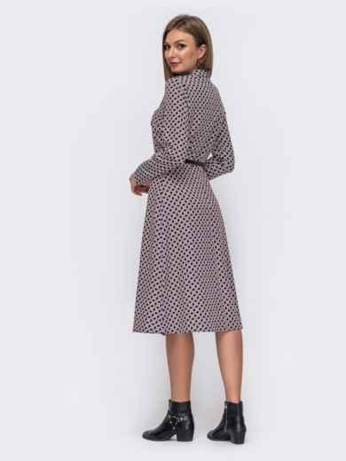 Расклешенное платье-миди с принтом чёрное 51075, фото 3