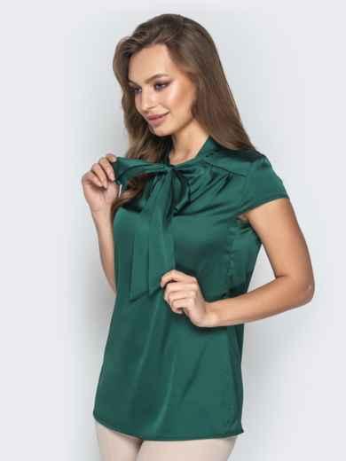 """Зелёная блузка с рукавом """"крылышко"""" и воротником-аскот 20507, фото 2"""