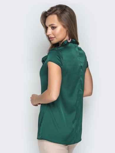 """Зелёная блузка с рукавом """"крылышко"""" и воротником-аскот 20507, фото 3"""