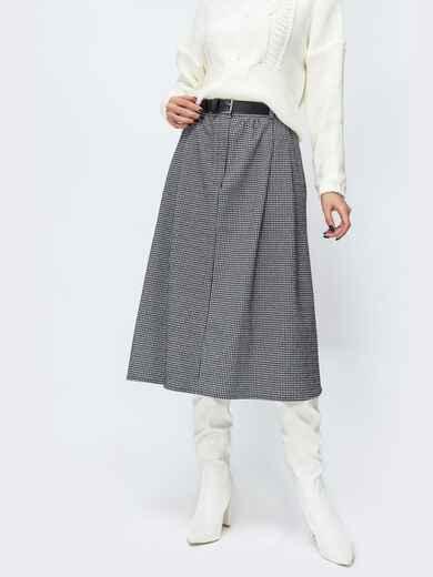 Клетчатая юбка с карманами по бокам серая 44108, фото 1