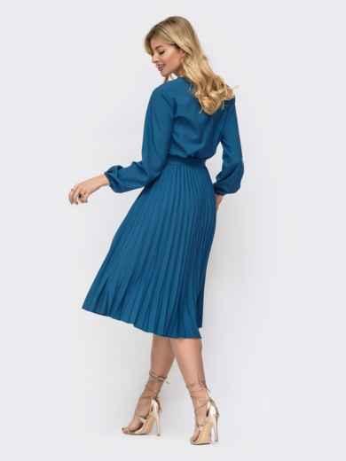 Платье синего цвета с юбкой-плиссе 45865, фото 3