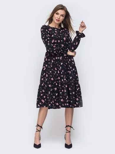 Чёрное платье с принтом и расклешенной юбкой 45753, фото 1