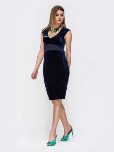 Платье из велюра с вырезом по спинке и фатином тёмно-синее 42850, фото 2