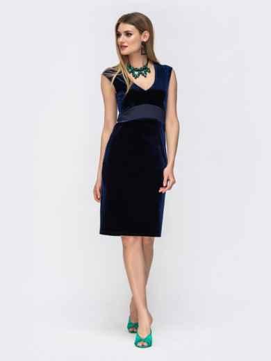 Платье из велюра с вырезом по спинке и фатином тёмно-синее 42850, фото 3