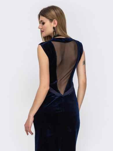 Платье из велюра с вырезом по спинке и фатином тёмно-синее 42850, фото 4