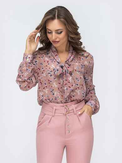 Розовая блузка с цветочным принтом и воротником-аскот 45037, фото 1