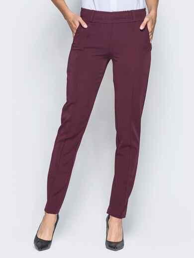 Бордовые брюки с отстроченными стрелками 15723, фото 1