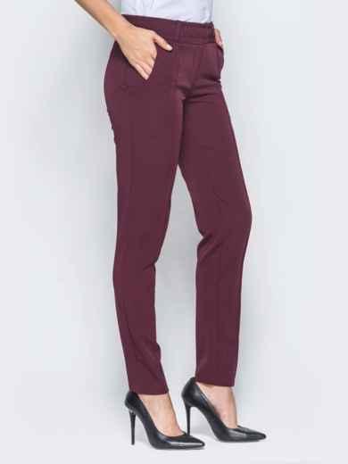 Бордовые брюки с отстроченными стрелками 15723, фото 2