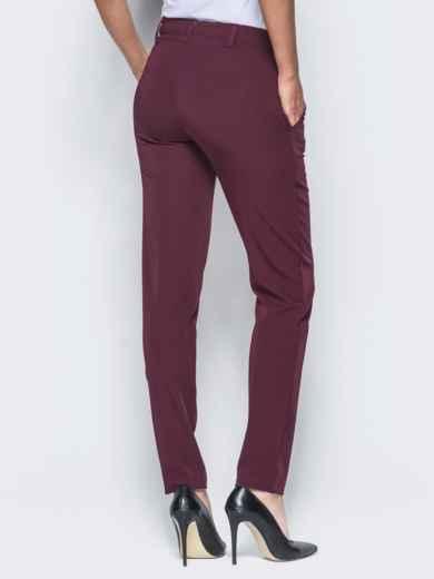 Бордовые брюки с отстроченными стрелками 15723, фото 3