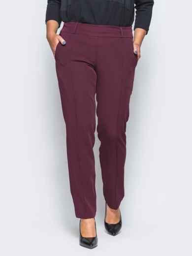 Бордовые брюки с отстроченными стрелками 15723, фото 4