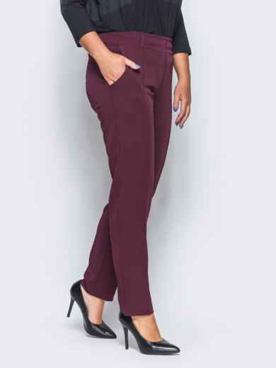 Бордовые брюки с отстроченными стрелками 15723, фото 5