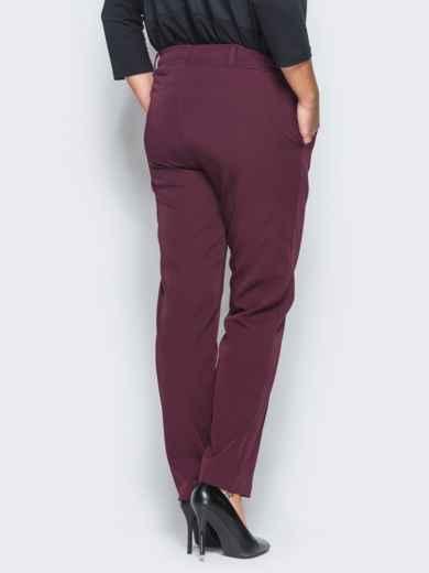Бордовые брюки с отстроченными стрелками 15723, фото 6