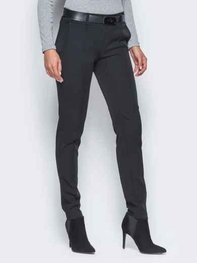 Черные брюки с отстроченными стрелками 15722, фото 2