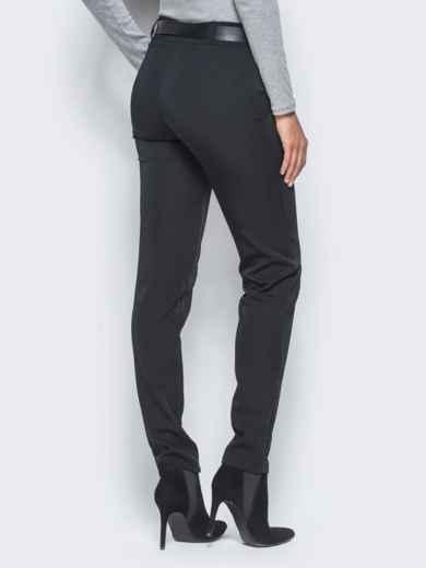 Черные брюки с отстроченными стрелками 15722, фото 3