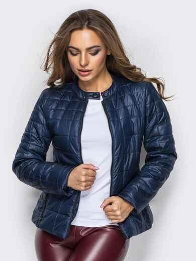 Демисезонная куртка тёмно-синего цвета без воротника - 15155, фото 1 – интернет-магазин Dressa