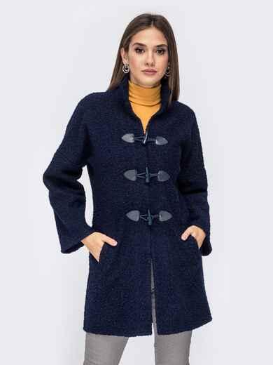 Демисезонное пальто-дафлкот из фактурного букле тёмно-синее 41436, фото 1