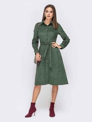 Фактурное платье-рубашка с карманами хаки 41547, фото 1