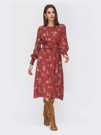 Расклешенное платье с принтом коричневое 44212, фото 1