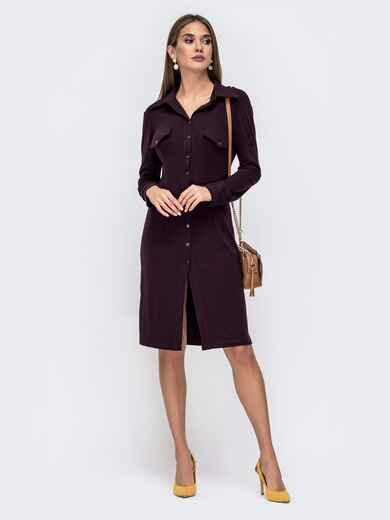 Трикотажное платье-рубашка фиолетового цвета 41549, фото 1