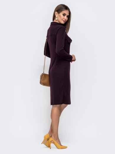 Трикотажное платье-рубашка фиолетового цвета 41549, фото 2
