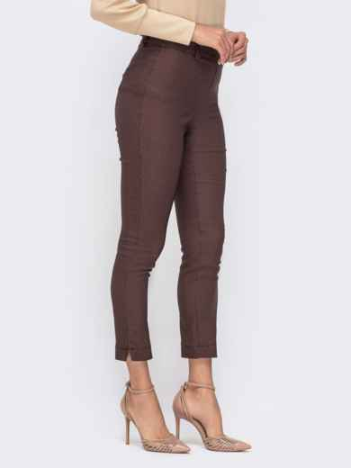 """Укороченные брюки с принтом """"гусиная лапка"""" коричневые 41540, фото 2"""