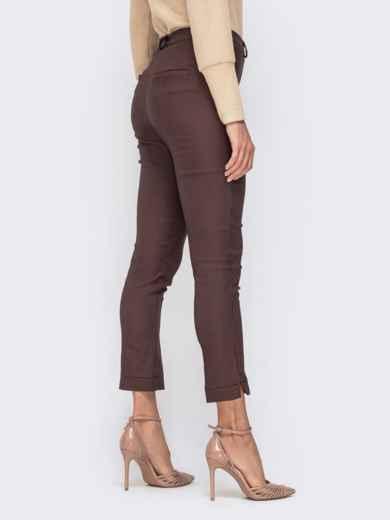 """Укороченные брюки с принтом """"гусиная лапка"""" коричневые 41540, фото 3"""
