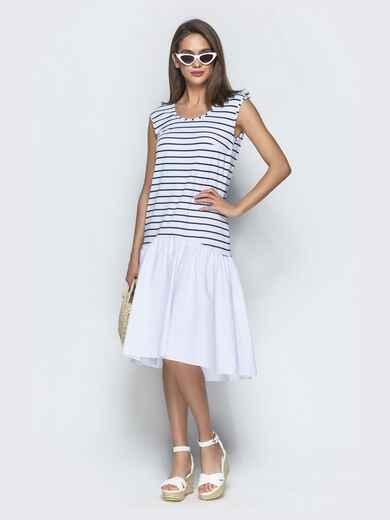 Белое платье свободного кроя в полоску с воланом по низу 39074, фото 1