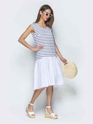 Белое платье свободного кроя в полоску с воланом по низу 39074, фото 2
