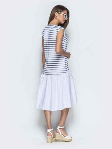 Белое платье свободного кроя в полоску с воланом по низу 39074, фото 3