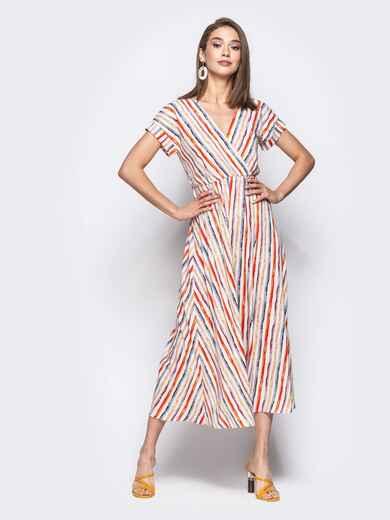 Платье в полоску с завышенной талией и лифом на запах белое 21664, фото 1