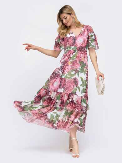Шифоновое платье с принтом и резинкой по талии розовое 48070, фото 1