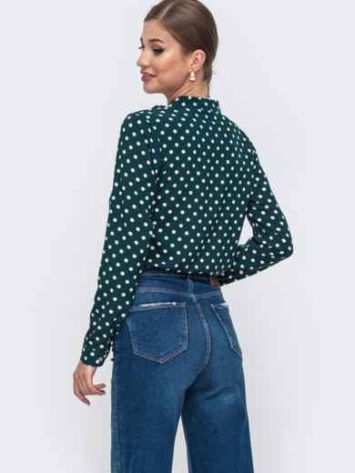 Зеленая блузка в горох с V-вырезом 49963, фото 3