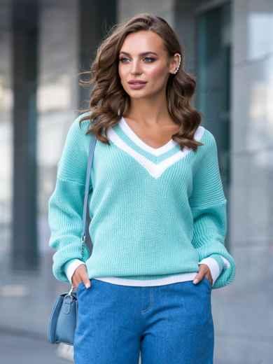 Бирюзовый свитер свободного кроя с контрастными вставками 41201, фото 2
