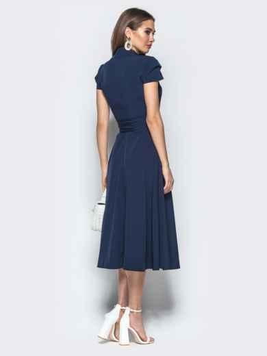 """Платье на запах с двухъярусным рукавом """"крылышко"""" синее 22028, фото 3"""