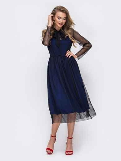 Синее платье из фатина в горох с воротником-аскот 43060, фото 2