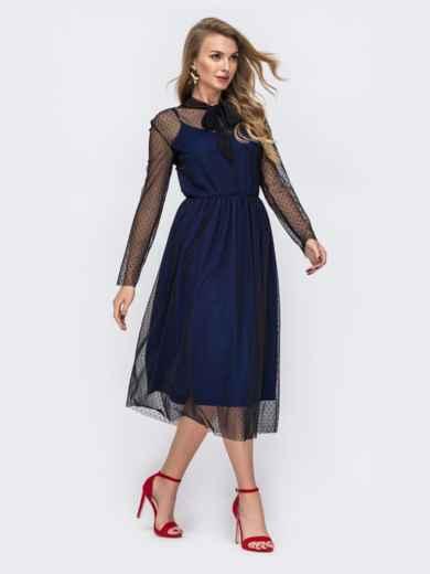 Синее платье из фатина в горох с воротником-аскот 43060, фото 3