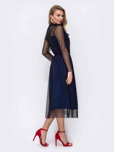 Синее платье из фатина в горох с воротником-аскот 43060, фото 4
