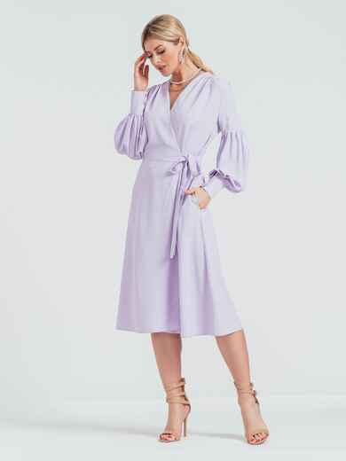 Сиреневое платье на запах с объемными рукавами 45840, фото 1