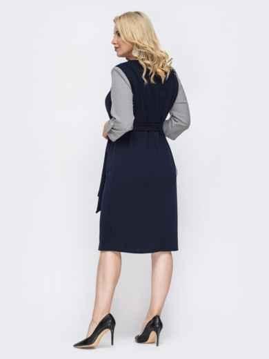 Тёмно-синее платье батал с контрастными рукавами 49819, фото 3