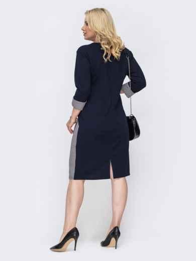 Тёмно-синее платье батал с контрастными вставками 49818, фото 2