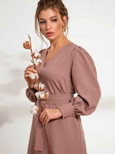 Бежевое платье с расклешенной юбкой 44207, фото 1