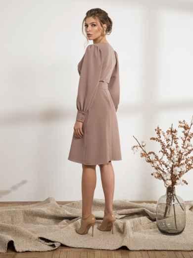 Бежевое платье с расклешенной юбкой 44207, фото 3
