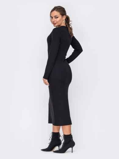 Чёрное платье приталенного кроя с V-образным вырезом 51966, фото 2