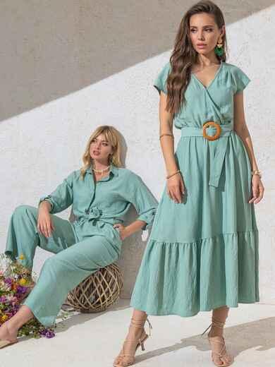 Расклешенное платье мятного цвета с воланом по низу 49368, фото 1