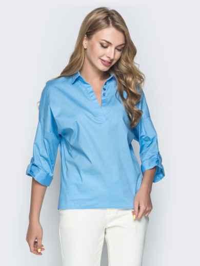 Хлопковая рубашка со спущенной линией плеч голубая 38866, фото 1