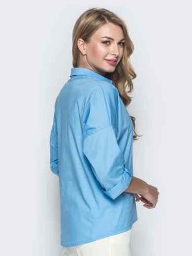 Хлопковая рубашка со спущенной линией плеч голубая 38866, фото 2