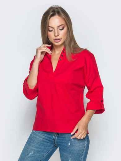 Хлопковая рубашка со спущенной линией плеч красная 38865, фото 1