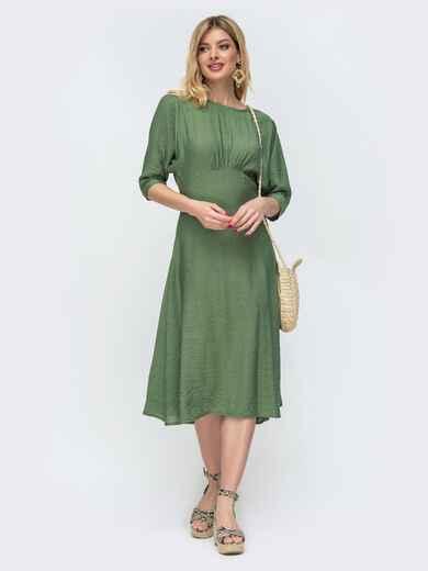 Платье из льна с драпированным лифом зеленое 46831, фото 1