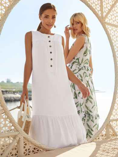 Белое платье-трапеция из хлопка без рукавов 54163, фото 1
